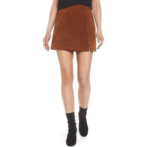 Camel Colored Leather Skirt